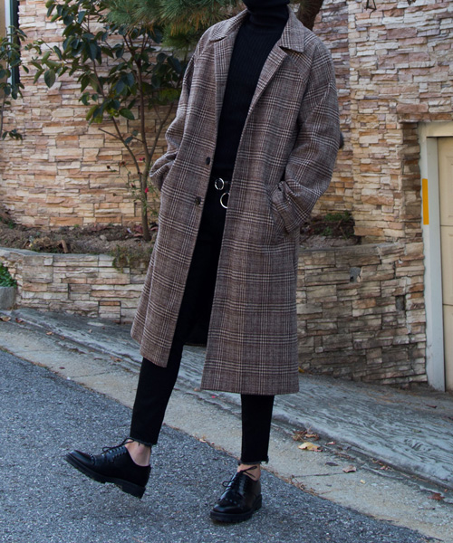 Charles check mac Coat #코트 (brown)